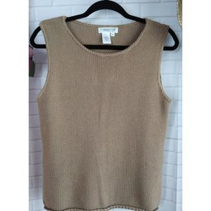 Coldwater Creek Sweater Tank Top Cotton Knit Taupe